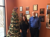 Greg Antoun, ChipBLASTER President,  with Molly Minman, Development Coordinator for The Salvation Army's Western PA Division